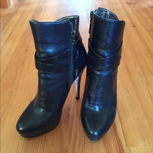 Charles David leather platform booties
